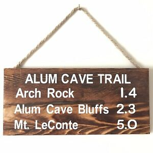 Details About Alum Cave Trail Sign Wood Plank Rustic Mt. Leconte GSMNP  Great Smoky Mountains A
