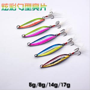 5pcs Metal Fishing Lures Spinner Baits Luminous Trount Spoon Lure 5//8//14//17g