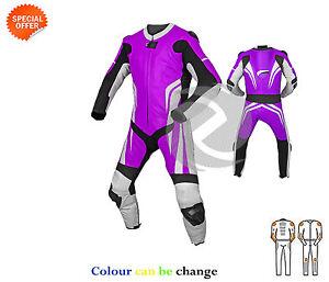Violet-Et-Blanc-Cuir-Moto-Combinaison-Pilote-GP-CONDUITE-Toutes-les-tailles