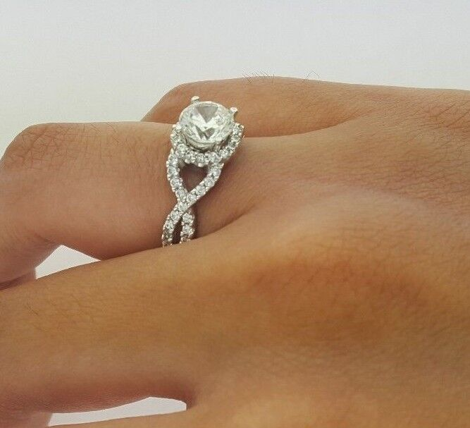 14k Solid White gold 1.5 CT Diamond Halo Solitaire Engagement Ring