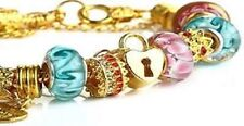 New European Style Charm Bracelet Murano Glass Bead Crystal Gold