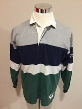 Vintage 90's Izod Sport Lacoste Rugby Polo Shirt Sz Medium Striped Men