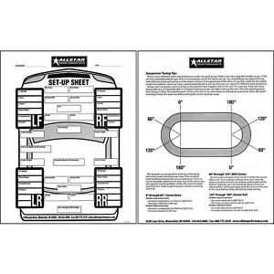 Details about Circle Track Racing Set Up Log 50 Sheets 8-1/2 x 11