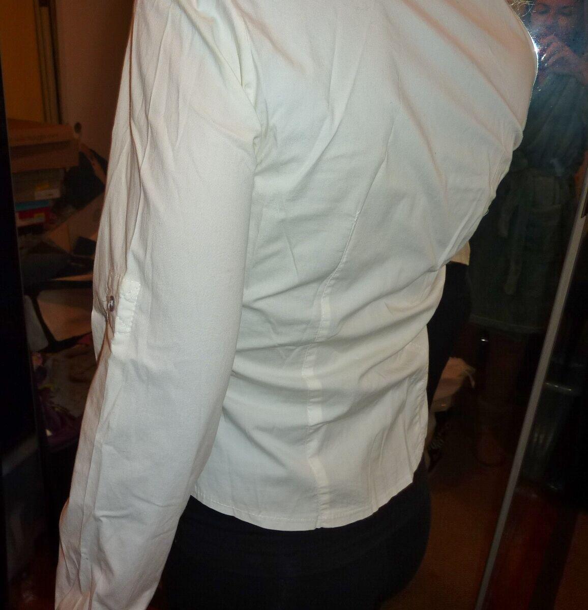 Contatto Italian button down white stretch cotton… - image 6