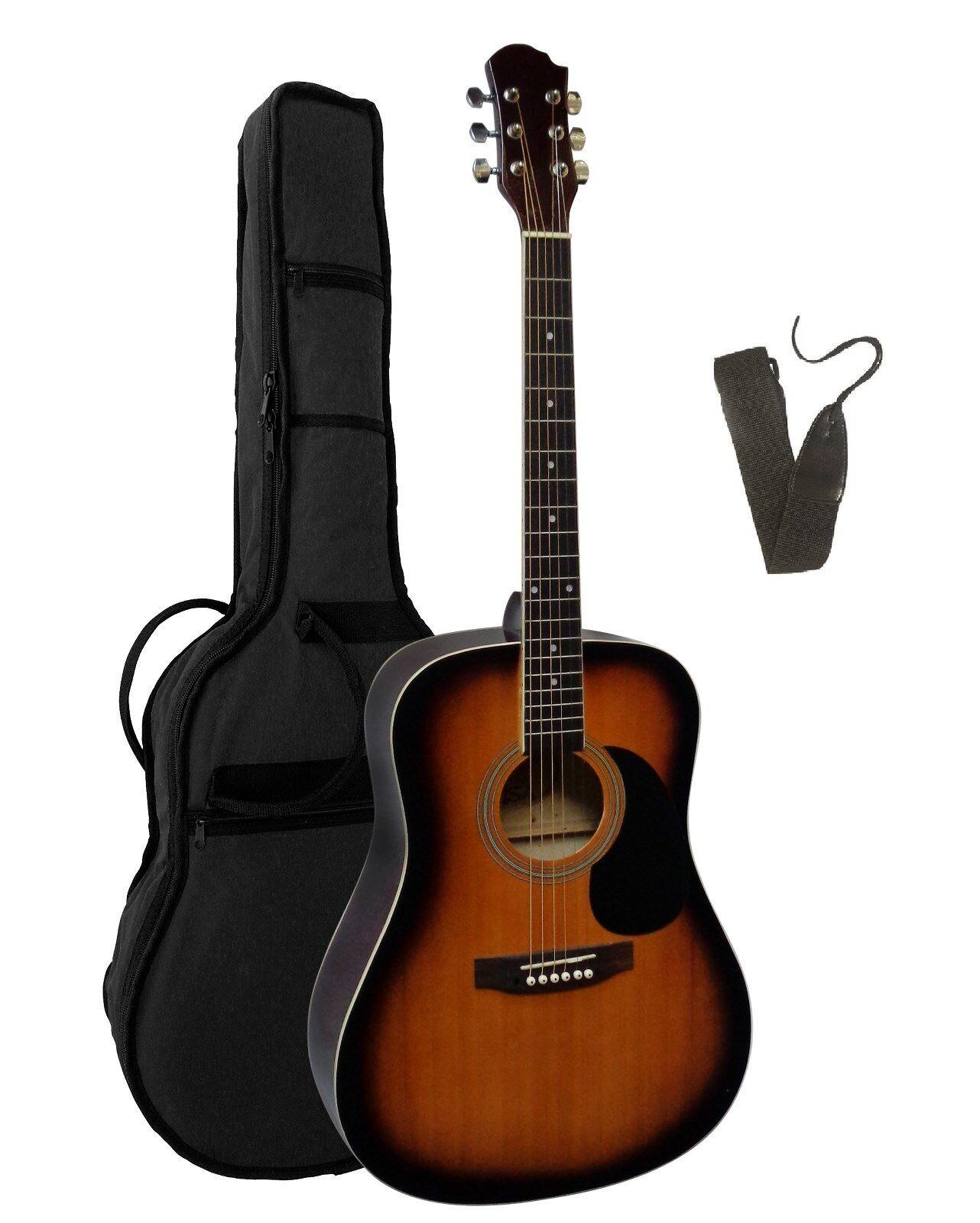 Westerngitarre + Tasche + Gurt, 4/4 Größe Akustikgitarre mit Stahlsaiten, Farben