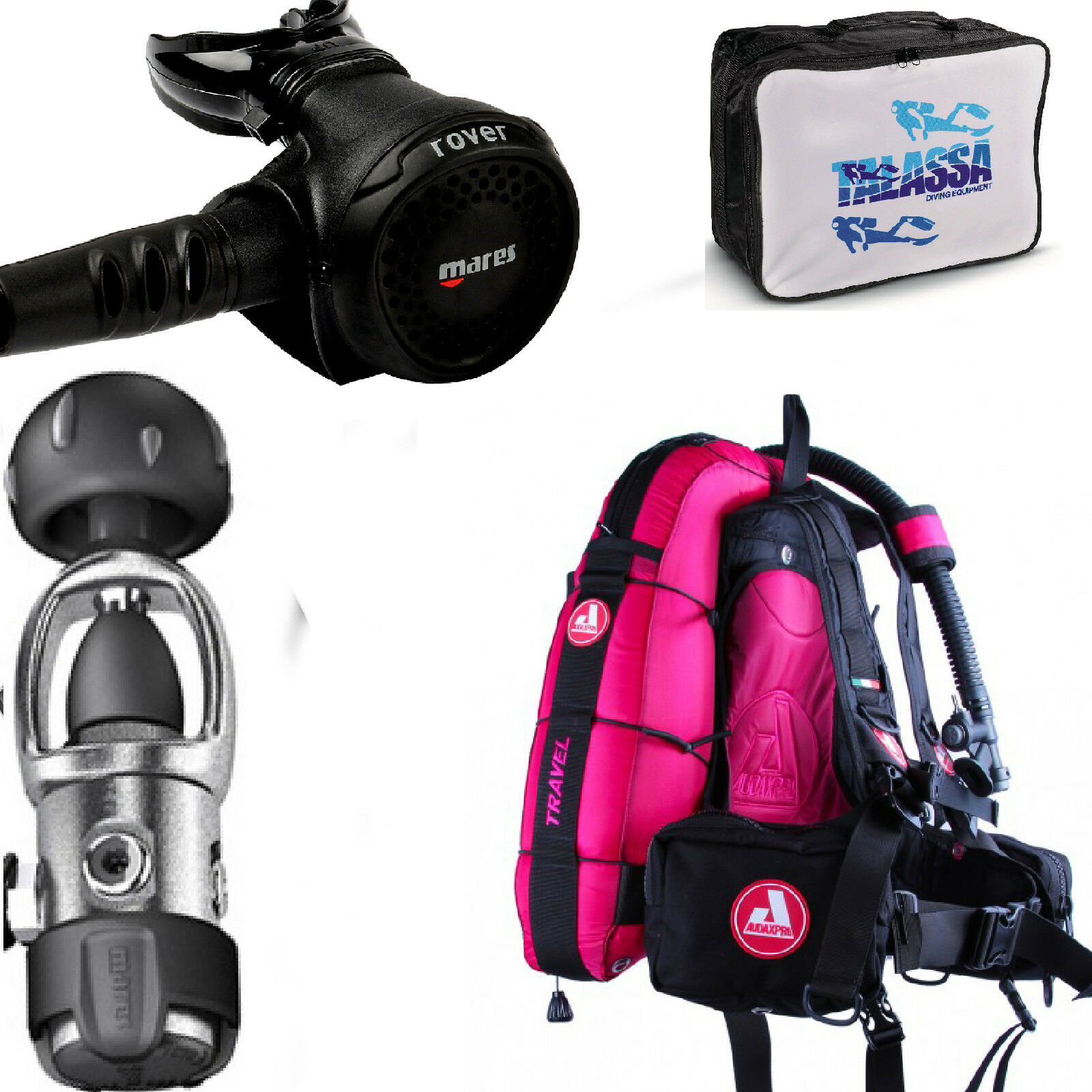 LO3 63 Mares Regulator  ROVER 2S YOKE + BCD AUDAXPRO TRAVEL  FUCSIA