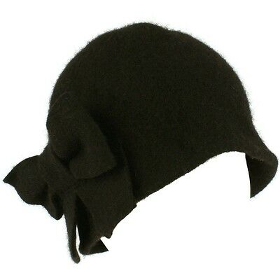 D&Y 100% Wool 1920s Style Winter Cloche Bucket Bow Church Fashion Hat (U.S Ship)