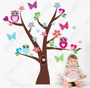 Image Is Loading Owl Hoot Butterfly Flower Heart Tree Wall Decals