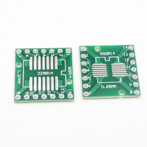 50PCS SOP14 SSOP14 TSSOP14 TO DIP Adapter PCB Board Converter 0.65//1.27//2.54mm