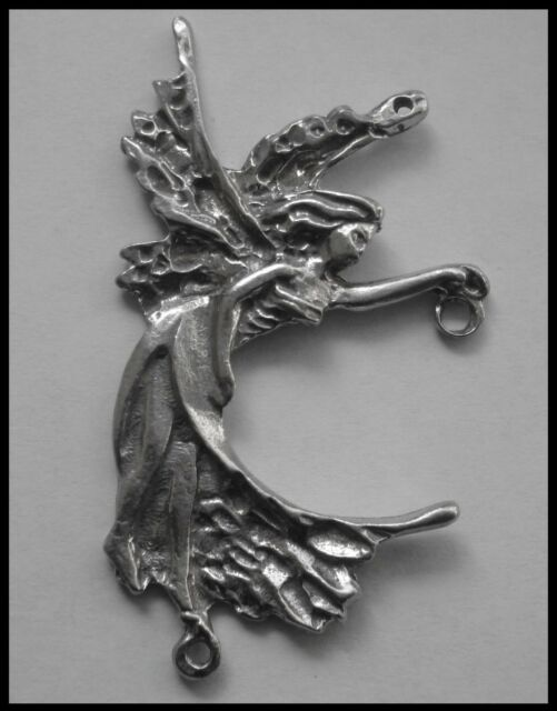 PEWTER CHARM #331 FAIRY can hold GEM - 3 bails double sided joiner (66mm x 36mm)