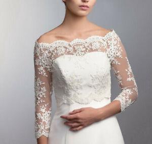 Bridal-Lace-Top-Wedding-Jackets-Boleros-Boat-Neck-3-4-Sleeve-Custom-Size-6-8-10