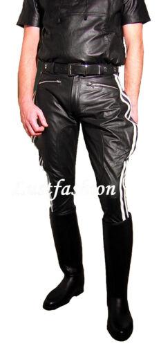 Lederhose striature bianche Stivali Pantaloni Nuovo breeches PANTALONI MOTO LEATHER PANTS NEW