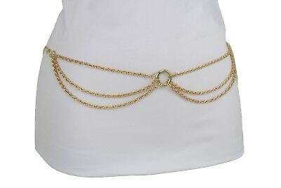 New Sexy Women Hot Gold Metal Side Waves Fashion Belt High Waist Hip Plus M L XL