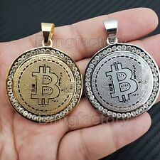 "Bitcoin SILVER Necklace coin medallion cryptocurrency 24/"" bling z7qq"