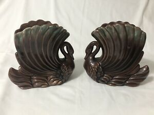 2 - Royal Haeger Brown and Green Swan R713 Vintage Planter Vase Bookends Pottery