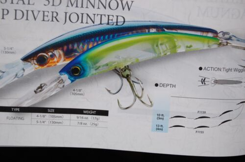"""4 lures assortment yo zuri crystal minnow float jointed deep diver 4 1//8/"""" f1159"""
