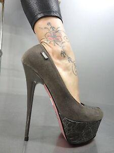 42 Grey Platform Italy Light Grigio Schuhe Leather Kroco Pumps Heels Mori Shoes zaP1gpKyaA
