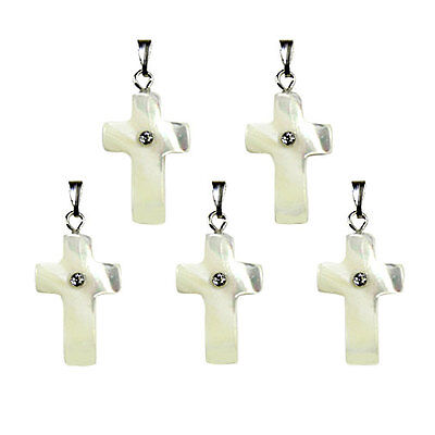 5 Hand Made CROSS Crucifix Mother of Pearl Shell PENDANTS 22mm