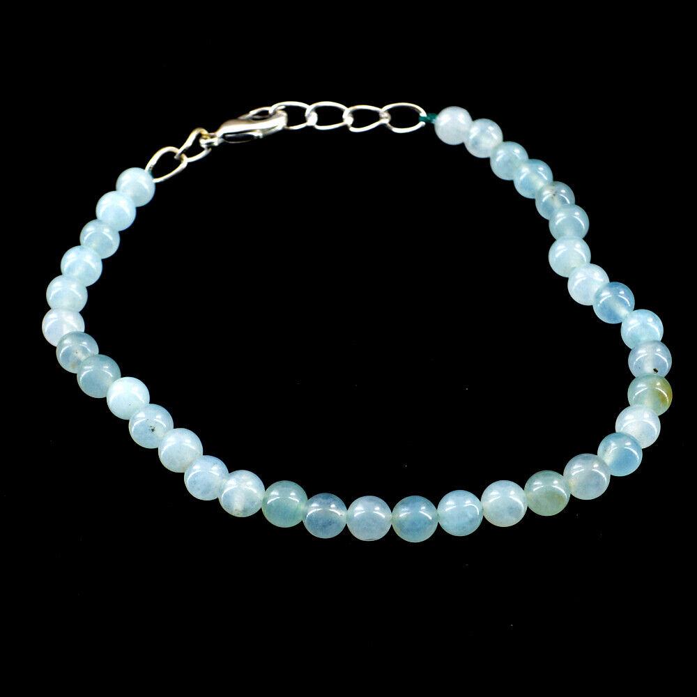 Round Shape 60.00 Cts Natural 7 Inches Long Aquamarine Beads Bracelet NK 43E52