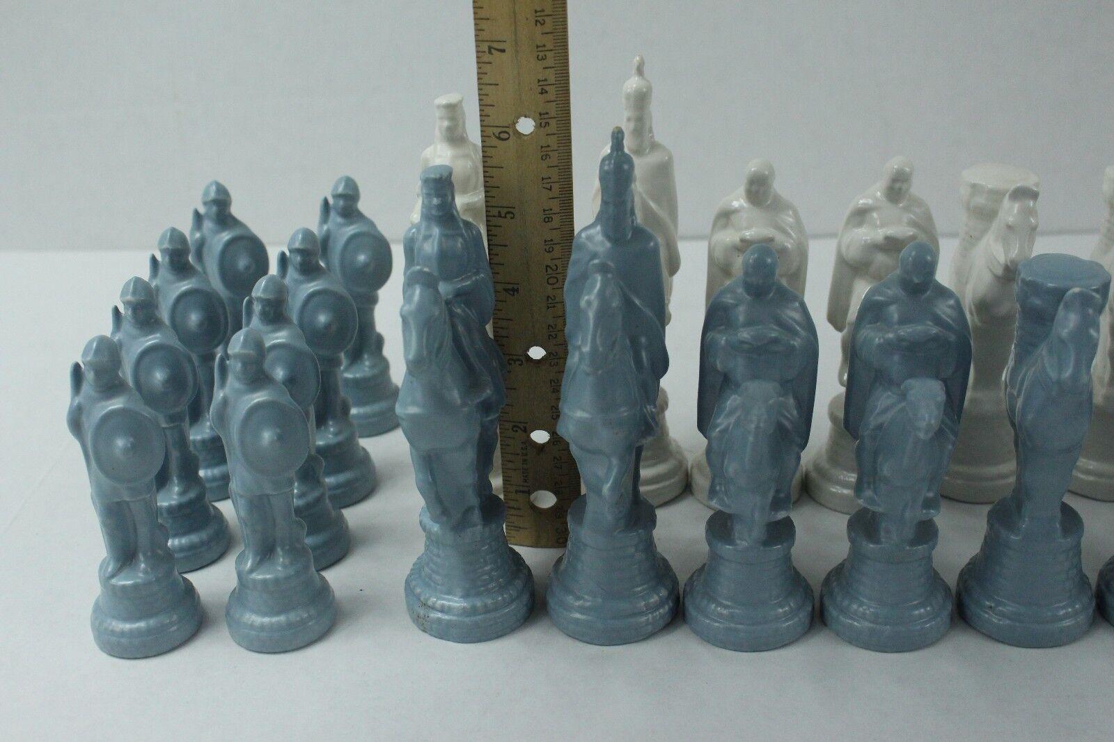 Vintage Detailed Figure Porcelain Ceramic Chess Set bluee White Full Full Full Set DER 1969 55b0ae