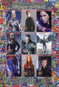Chad-2018-CTO-X-Men-Wolverine-Stan-Lee-Superheroes-9v-M-S-Comics-Movies-Stamps