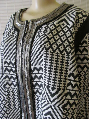 Veste longues à ornements à manches motif Taille Nwt à Couture 1 Sharif géométrique et FwHZq45