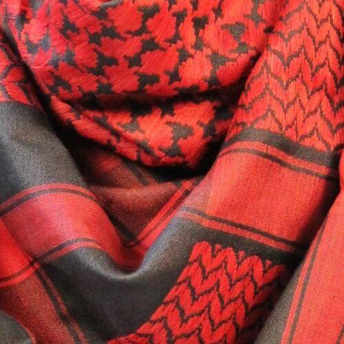 100/% Woven Cotton Military Shemagh Headscarf Keffiyeh Veil Wrap Red /& Black