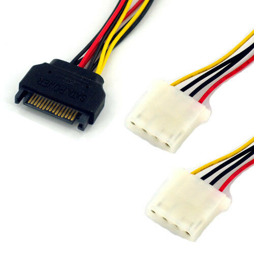 """2x 6/"""" SATA 15-Pin Male to Dual 4-Pin Molex Y Power Splitter Cable connector"""