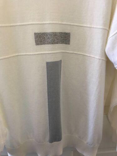 italien de Pull pâlemélange blancs et cotoncol Galileilargeaccents gris SMGUVLqjpz