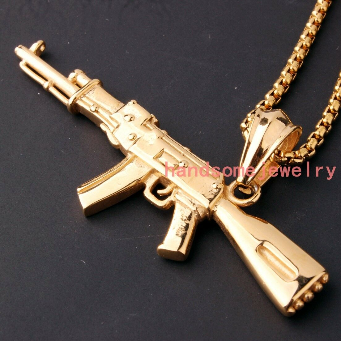 Fashion Stainless Steel Ak 47 Gun 18k Gold Men Women