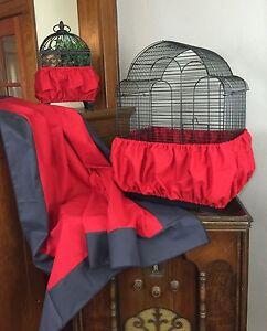 NEW Handmade Red Fabric Bird Cage Skirt Seed Catcher Guard 100% Cotton XS-XXL