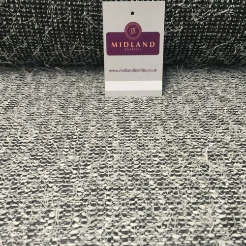 """Black and White Hairy loose Thread knitted fabric 58/"""" Wide MR997"""