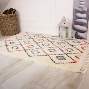 Image Is Loading Cream Terra Moroccan Trellis Shaggy Rug Soft Tasslled