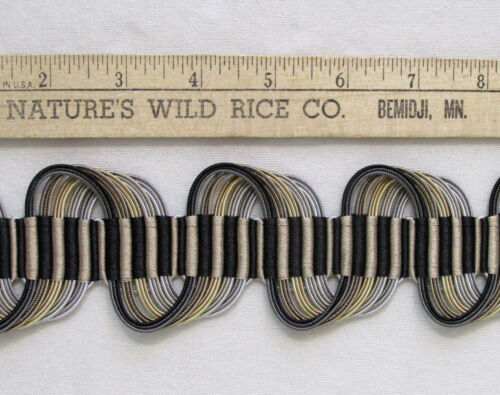 "Modern Wave Ribbon Trim Black Silver & Gold Sewing Crafts 288"" Long Braided"