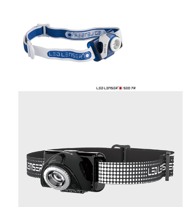 Led Lenser Seo7R Stirnlampe mit Dimmfunktion wiederaufladbar, 220lm bis zu 130m