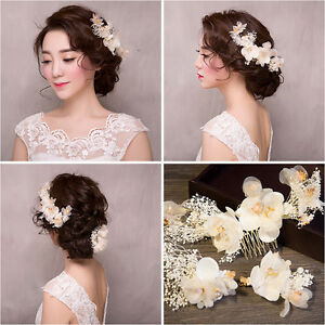 Wedding-Bridal-Flower-Hair-Piece-White-Floral-Fabric-Crystal-Hair-Comb-amp-Hair-Pins