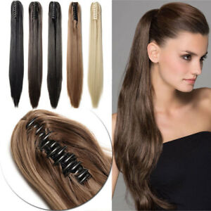 US- Women Silk Straight Claw Clip in Ponytail 100% Remy Human Hair ... b3f4fd116