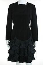 CH Carolina Herrera Black Square Neck Long Sleeve Tiered Detail Dress Size S