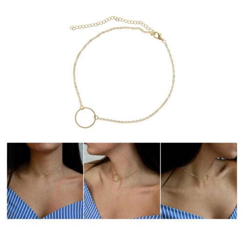 Femmes Collier Chocker Pendentif Cercle Rond Anneau Chaîn Simple Style Bijoux