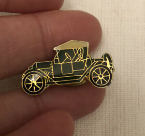 Vintage Black And Gold Old Car Pinback Lapel Pin