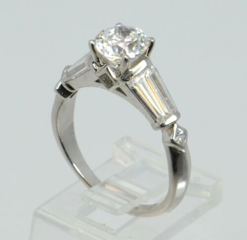 Epiphany Platinum Clad Solid 925 Sterling Silver Diamonique Solitaire Ring Sz-8/'