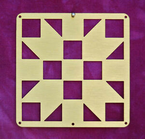 Mini-Barn-Quilt-Metal-2-5-034-Bronze-Quilt-Block-Sister-039-s-Choice-Pattern