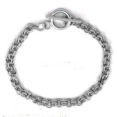 """Antique Silver 7.25"""" Toggle Double Charm Link Bracelet for Trad or Clip-on Charm"""