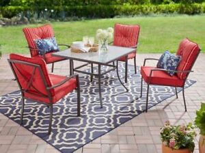 5 piece red outdoor patio furniture dining set stacking for Red metal patio furniture