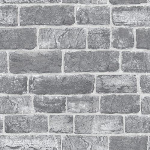 Rasch Luxury Wallpaper Urban Faux Brick Grey Feature Wall Wallpaper  217346