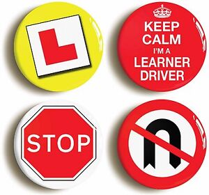 Details about LEARNER DRIVER FUNNY BADGE BUTTON PIN SET (Size is 1inch/25mm  diameter)
