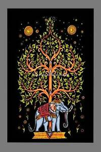 Indian-Wall-Decor-Elephant-Tree-Of-Life-Print-Tapestry-Throw-Cotton-Boho-Poster