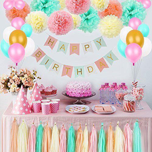 Girls Birthday Decorations Pom Poms Flowers Kit Party supplies