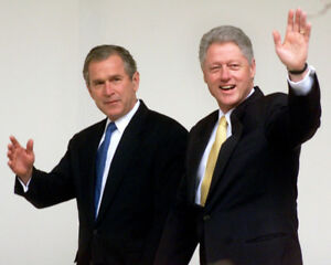 Bill-Clinton-with-newly-elected-President-George-W-Bush-UNSIGNED-photo-K9252
