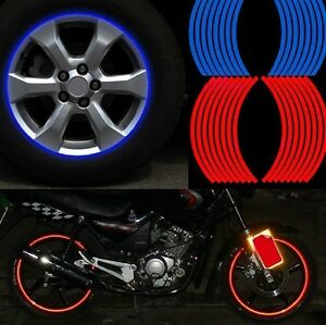 16pcs 8mm Motorbike Car Reflective Rim Tape Wheel Sticker Trim Motorcycle